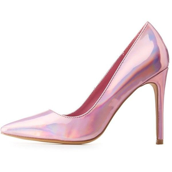 Charlotte Russe Holographic Pointed Toe Pumps (1.765 RUB) ❤ liked on Polyvore featuring shoes, pumps, heels, pink, metallic, sexy pink pumps, charlotte russe pumps, pink metallic shoes, iridescent shoes and pink pointy toe pumps
