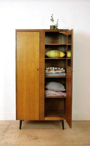 Stunning Mid Century Retro 50's Fitted Teak Wardrobe / Compact Size