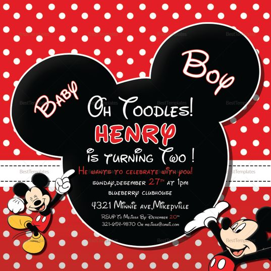 Cute Mickey Mouse Birthday Invitation Template In 2019 Invitation