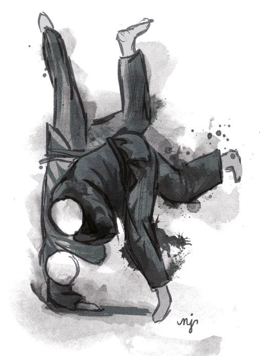 Judo throw, digital painting b/w