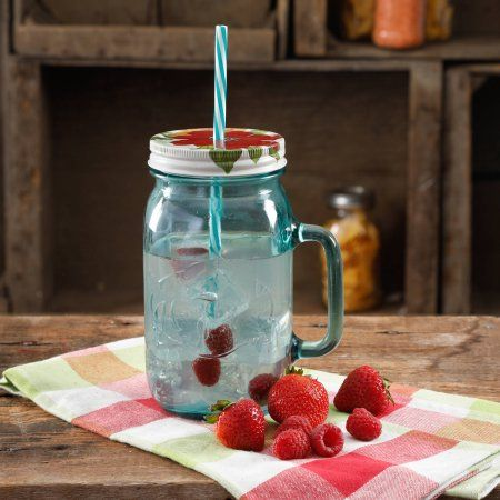 The Pioneer Woman 32-Ounce Turquoise Mason Jar, Ocean Teal Straw