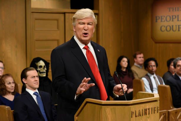 LIVE 'Alec Baldwin' Episode 1718 Pictured Alec Baldwin as President Donald Trump during the 'Trump People's Court' sketch on February 11 2017