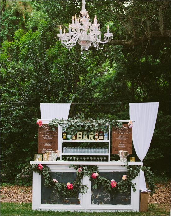 Oh so stunning bar at a DIY wedding.
