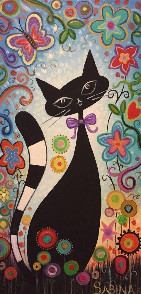 Cat In Meadow Folk Art Acrylic Canvas Artist Sabina Original #FolkArt