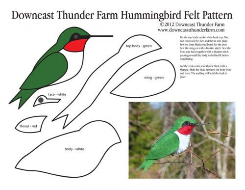 """Ruby Throated Hummingbird Felt Ornament from Downeast Thunder Farm. Take a look at her site, she has LOTS more """"bird"""" ornament patterns."""
