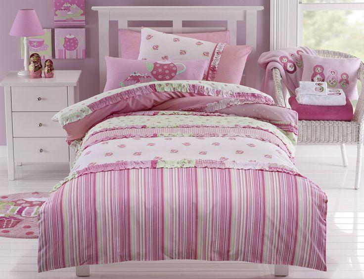 'Lucy' Bedlinen range. Pink, floral and gorgeous #girlsroom #kidslinen #bedroom #homedecor #floral