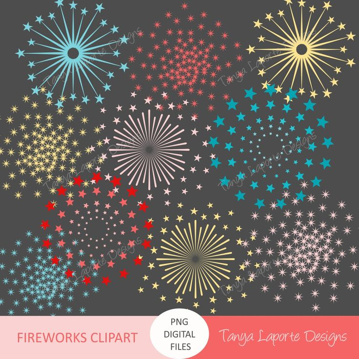 Fireworks Clipart - Instant digital download - Red, Yellow Pink & Blue - High Resolution PNG Files - 16 graphics by TanyaLaporteDesigns on Etsy