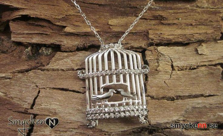 Fågelbur halsband i steeling silver www.smyckenn.se
