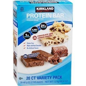 Protein Bar Kirkland Signature delicious energy variety (total 20 pack: 10 Chocolate Chip Cookie Dough 10 Chocolate Brownie) Gluten Free Real Chocolate 15g of Fiber 2.12 oz (20 Count)
