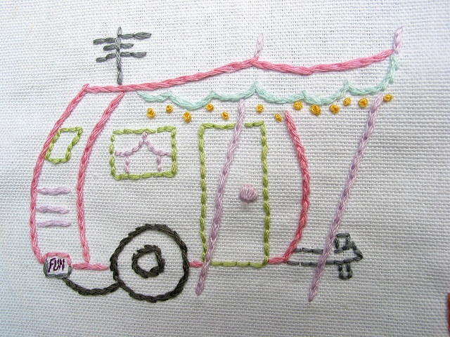 I want a real one too.Embroidery Pattern, Hands Embroidery, Summer Picnics, Travel Tips, Picnics Summer, Travel Trailers Embroidery, Pattern Travel, Dreams Cars, Vintage Campers