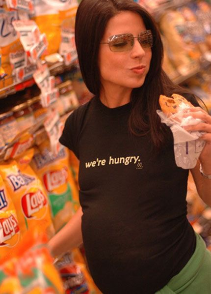 2 chix - We're Hungry Maternity Tee - Novelty Pregnancy Tees - Queen Bee