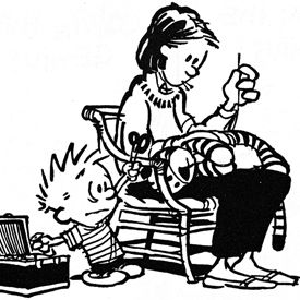Calvin & Hobbes - the most brilliant cartoon strip ever.  We own all the books.  We own the book of all the books.  I miss them.  This is one of my favorite single cells.  It says so much without a word.