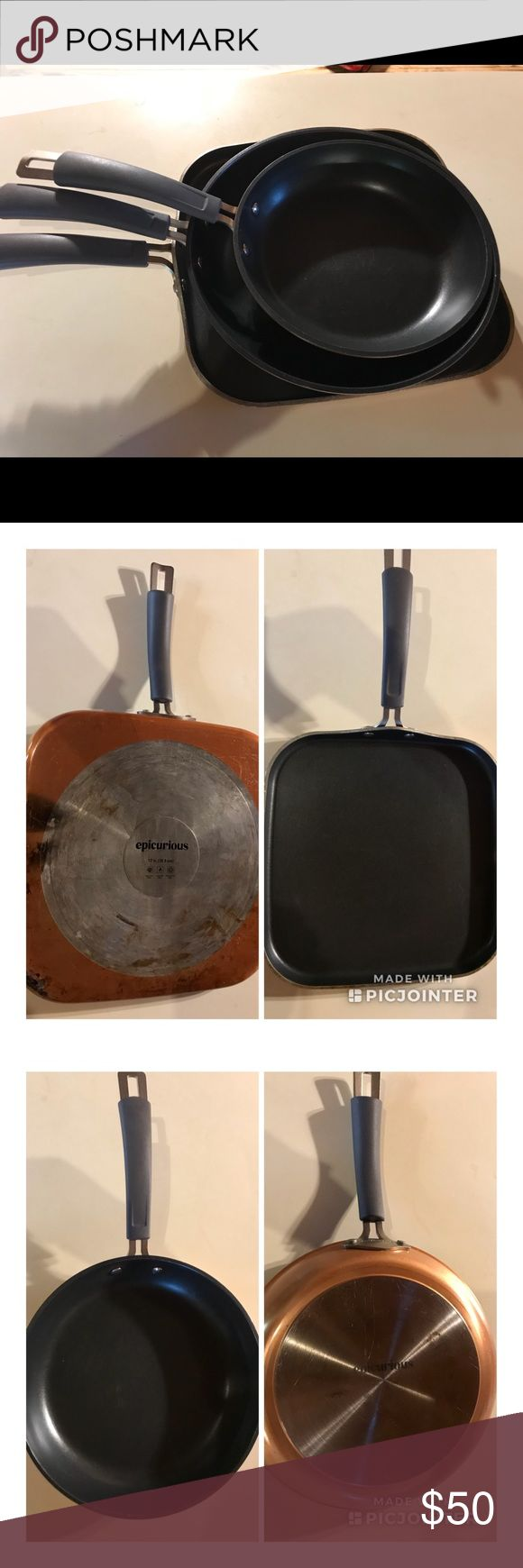 """3 piece Epicurious cookware set Gently used non-stick cookware. I got a new complete set for Christmas so I don't need these.   Epicurious Aluminum Nonstick 12"""" Square Griddle. Metal utensil safe nonstick interior. Excluding induction Oven safe up to 350º F. Dishwasher safe Measures 21"""" L x 12"""" W x 1"""" H    Epicurious Aluminum Nonstick 2-Piece Fry Pan Set Suitable for use on all stove types, including induction.  Oven safe up to 350º F Includes: 9"""" open fry pan, 11"""" open fry pan Epicurious…"""