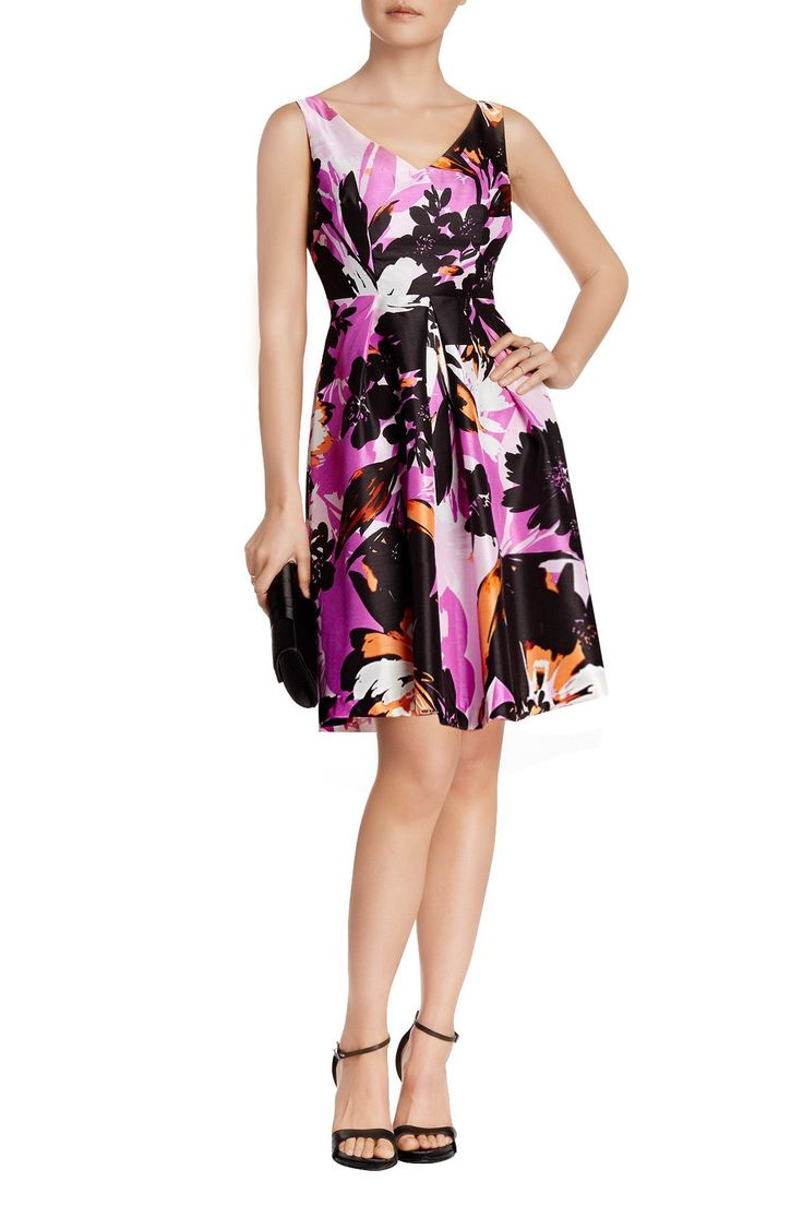 "London Times Petite Women Floral Fit and Flare Dress - Petite Dresses (10P, Berry/Orange). Floral fit and flare print dress. Sleeveless, V- neck. Fit and Flare Dress. Petite women dress: 35"" in length (Taken from a size 6P). Occasion: Formal Day Dress, Party Dresses."