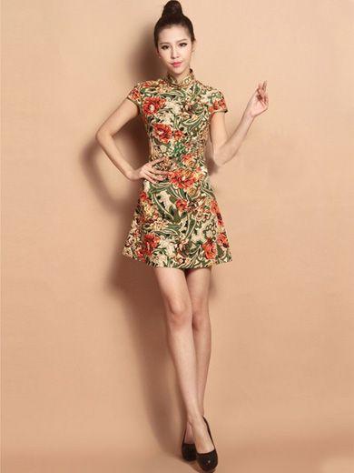 Custom Tailored Short Floral Qipao / Cheongsam Dress