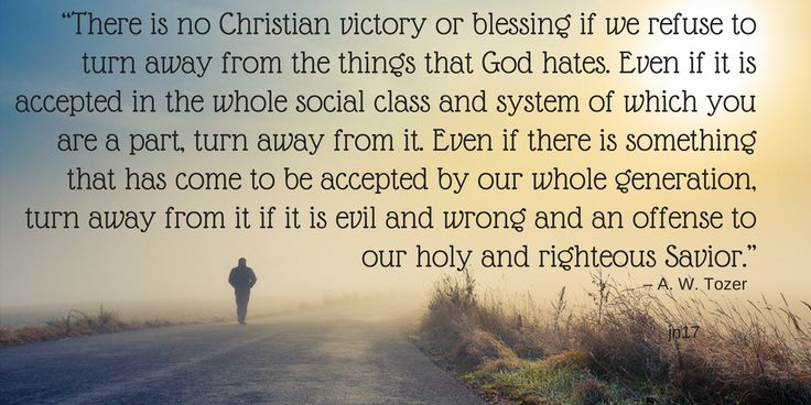 """""""There is no Christian victory or blessing if we refuse to turn away from the things that God hates. Even if it is accepted in the whole social class and system of which you are a part, turn away from it. Even if there is something that has come to be accepted by our whole generation, turn away from it if it is evil and wrong and an offense to our holy and righteous Savior."""" – A. W. Tozer"""