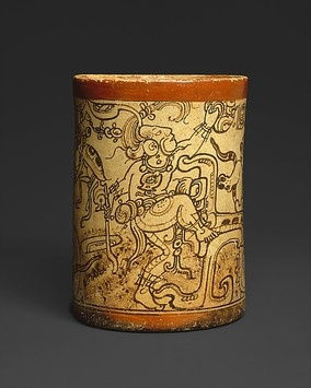 During the eighth century the ancient Maya made numerous straight-sided ceramic vessels that were painted around the outside with elaborate, multi-figured scenes. Many of the scenes were mythological in content, depicting events that took place in the underworld, the realm of the Lords of Death.