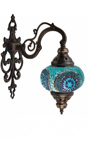 Handmade glass mosaic wall lamp , Ottoman design Turkish chandelier, Mosaic lamp chandelier