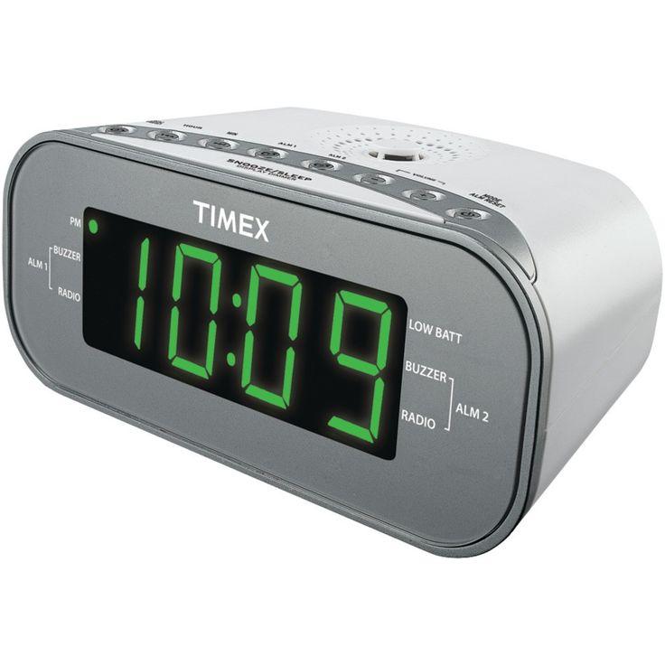 TIMEX T231WY2 AM/FM Dual Alarm Clock Radio with Digital Tuning (White)