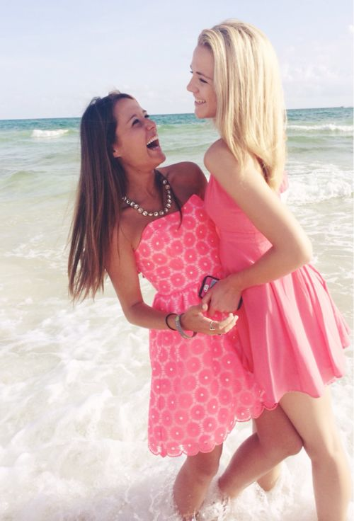 This reminds me of us @Haley♡Nicole Two bffs. one blonde. one brunette. laughing at the beach. Preppy in Pink!