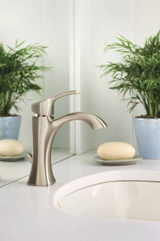350--Voss brushed nickel one-handle high arc bathroom faucet - 6903BN - Moen