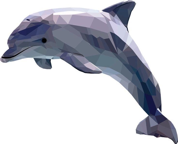 Polygonal, geometric animal, dolphin by Camilla Dahl Hansen