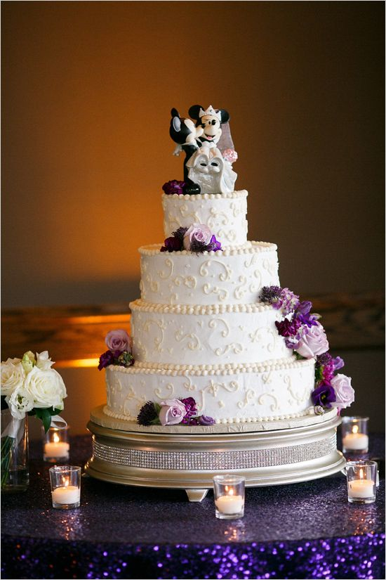 disney inspired wedding cakes magical purple and gold wedding great ideas 13554