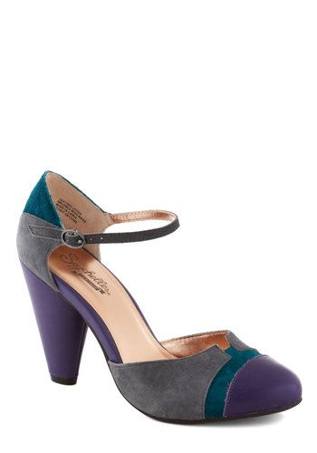 Just an Illusion Heel by Seychelles - Purple, Grey, Green, Solid, Colorblocking, Best, High