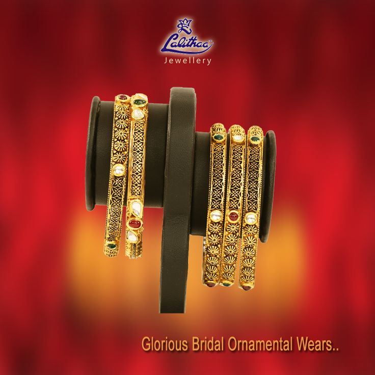 Impressive red, green & white stone spotted royal antique bangles that would show you traditional from #LalithaaJewellery.