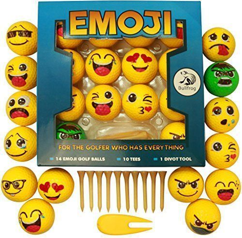 Emoji #golf Balls Gift Edition - 14 Deluxe Practice Golfballs + 10 Golfing Tees + 1 Divot Repair Tool - Golfer Novelty Gag Gifts For Experienced Golfers - By Bullfrog - For the golf enthusiast - Bullfrog's unique emoticon golf ball set is a great gift for seasoned golf players and novice or junior golfers. This set is complete with the tees and divot tool accessories to start a beginner golfer's toolkit. This novelty item is also a fun surprise for the golfer w...