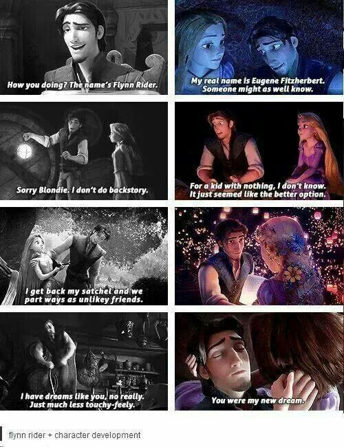 Eugene shows his true self to Rapunzel.. personally, Rapunzel and Eugene are my favourite Disney couple