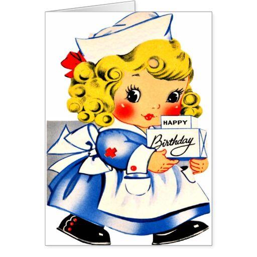 Vintage Birthday Cartoon | Little Girl Nurse - Retro Happy Birthday | Zazzle
