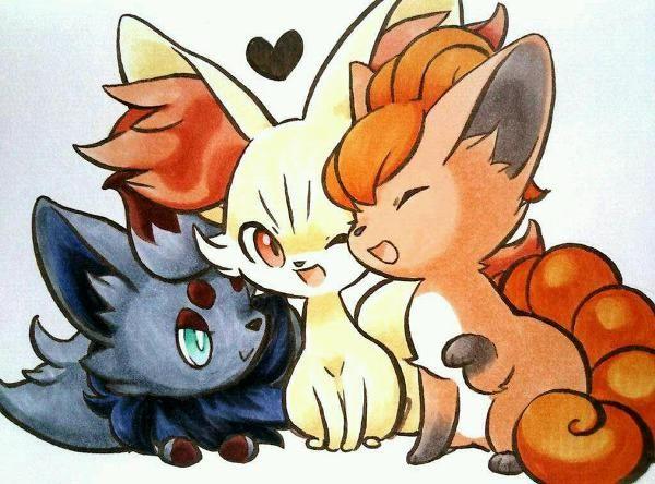 """""""Cute Pokemon <3"""" (From left to right: Zorua, Fennekin & Vulpix)"""