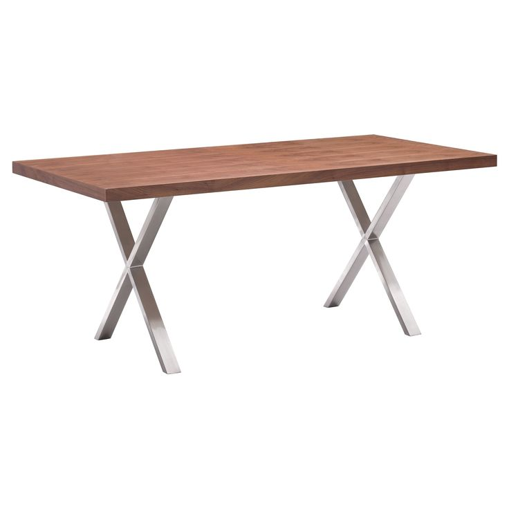 Mid-Century Modern Brushed Stainless Steel 71 Rectangular Dining Table - Walnut (Brown) - ZM Home