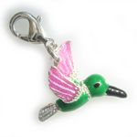 Silver 3 dimensional coloured humming bird charm