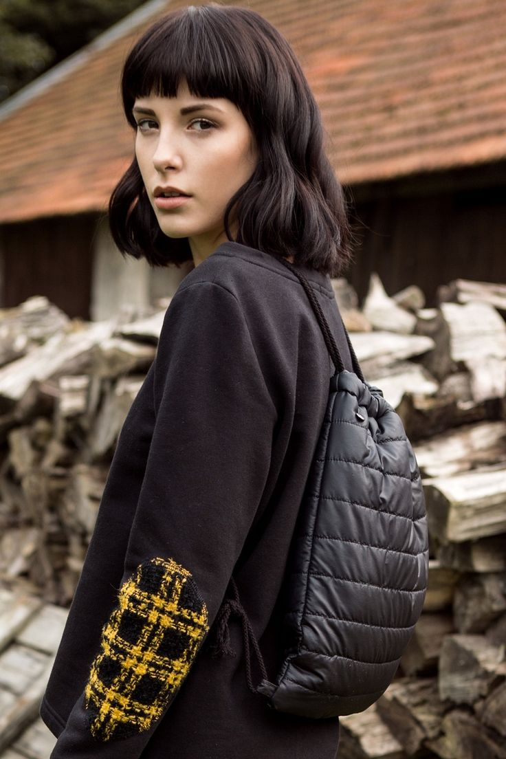 Black sweatshirt, quilted drawstring backpack. FW 2014/15 collection. Kamila Gronner. http://kamilagronner.shwrm.com