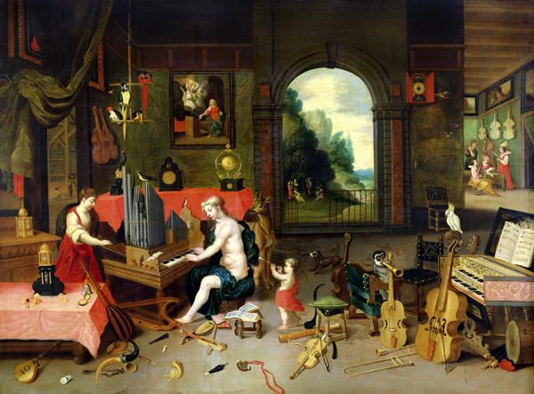 Jan van Kessel, Allegory of Hearing (17th century): Diverse sources of sound, especially instruments serve as allegorical symbols.