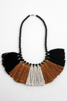 Tassel Necklace Black White and Brown by MadiJaneAccessories
