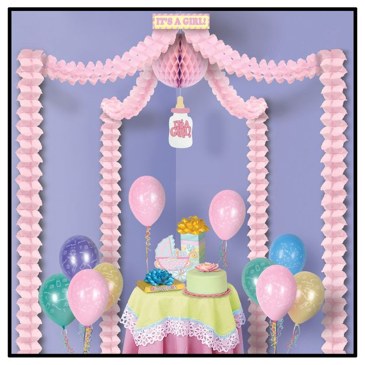 It's A Girl Party Canopy Baby Shower Tissue Decorations (6/Case)