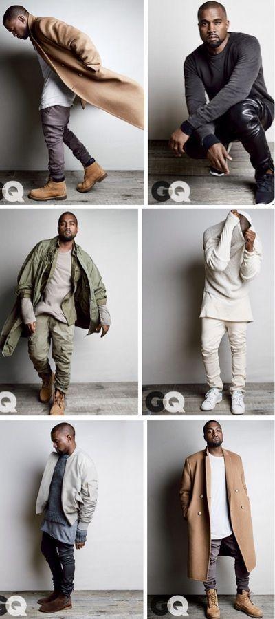 Kanye wearing his iconic fashion style