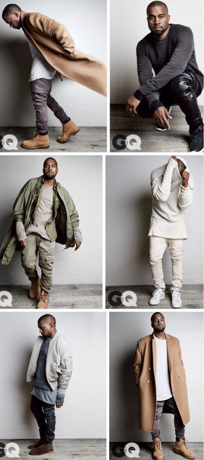 Kanye wearing his iconic fashion style