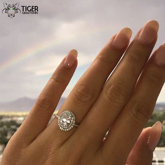 1 ctw Oval Cut Double Halo Engagement Ring 3/4 by TigerGemstones
