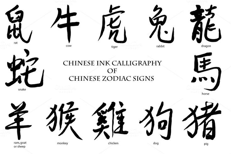 Ink calligraphy Chinese Zodiac Sign by Corner Croft on @creativemarket