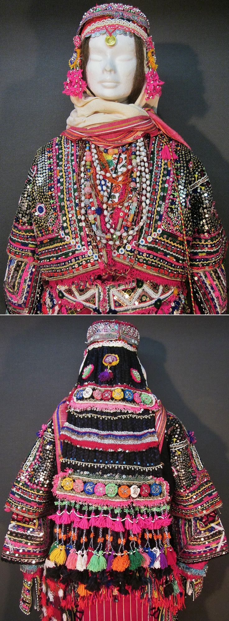 Close-ups of a traditional festive costume for (not yet betrothed) girls/young women.  From the Pomak villages in the Biga district (Çanakkale province).  Clothing style of the mid-20th century.  (Kavak Costume Collection - Antwerpen/Belgium).