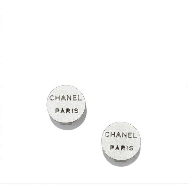 Vintage Chanel Chanel Logo Earrings (1,270 AED) ❤ liked on Polyvore featuring jewelry, earrings, silver, chanel jewelry, logo earrings, silvertone earrings, chanel jewellery and chanel earrings