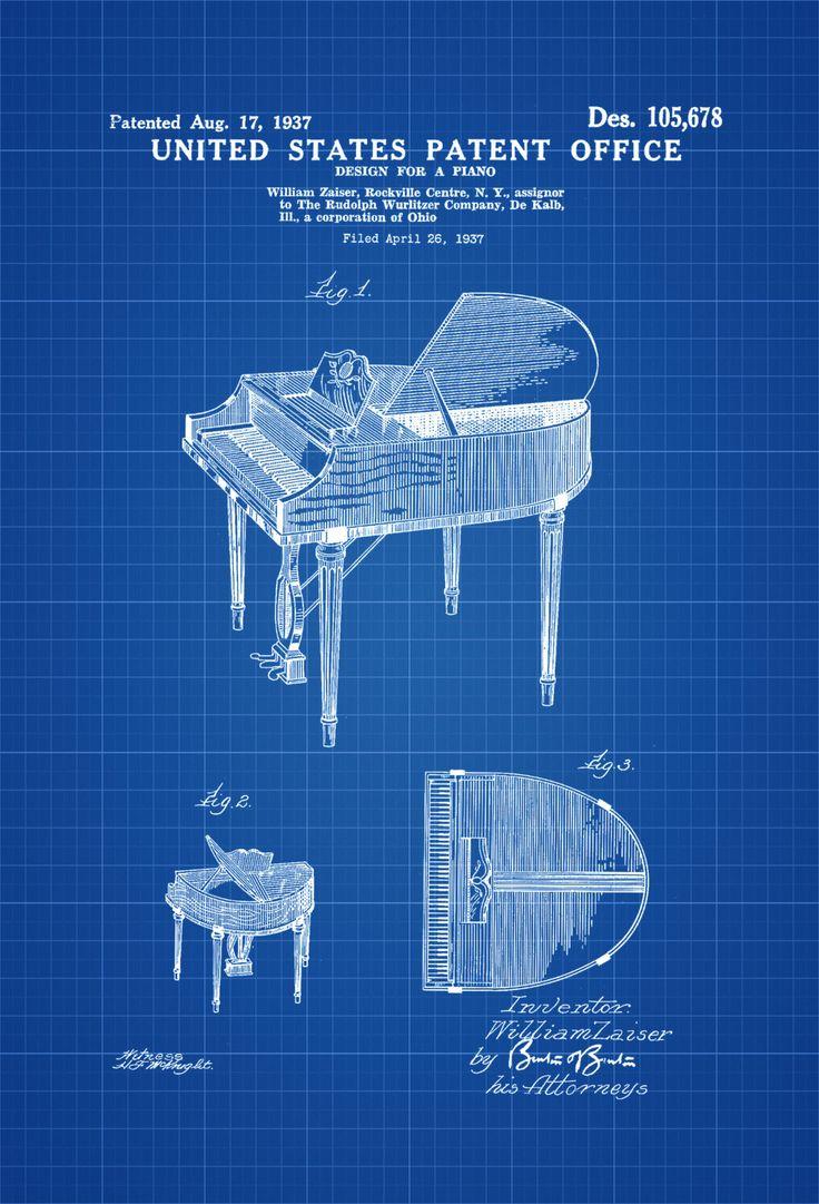 Wurlitzer Piano Patent - Patent Print, Wall Decor, Music Poster, Musical Instrument Patent, Piano Patent, Wurlitzer Patent by PatentsAsPrints on Etsy