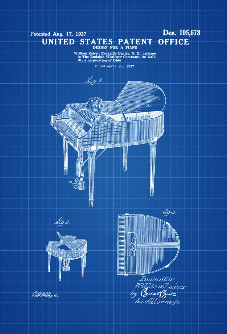 Wurlitzer Piano Patent - Patent Print, Wall Decor, Music Poster, Musical Instrument Patent, Piano Patent, Wurlitzer Patent by PatentsAsPrints on Etsy