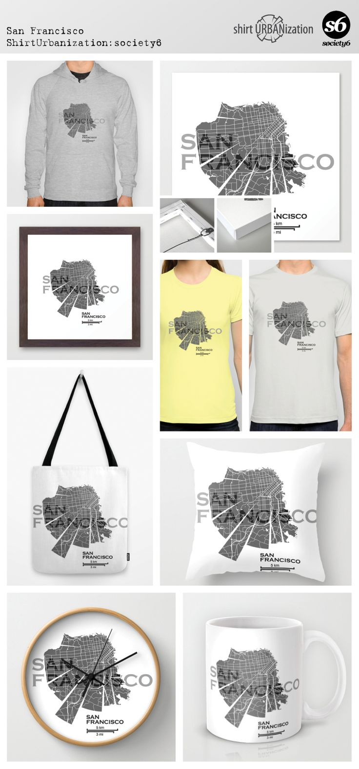 Stylistic map of San Francisco city in California in the United States. Black and white on light background. Available at Society6 by ShirtUrbanization  http://society6.com/product/san-francisco-map-koy_print#1=45