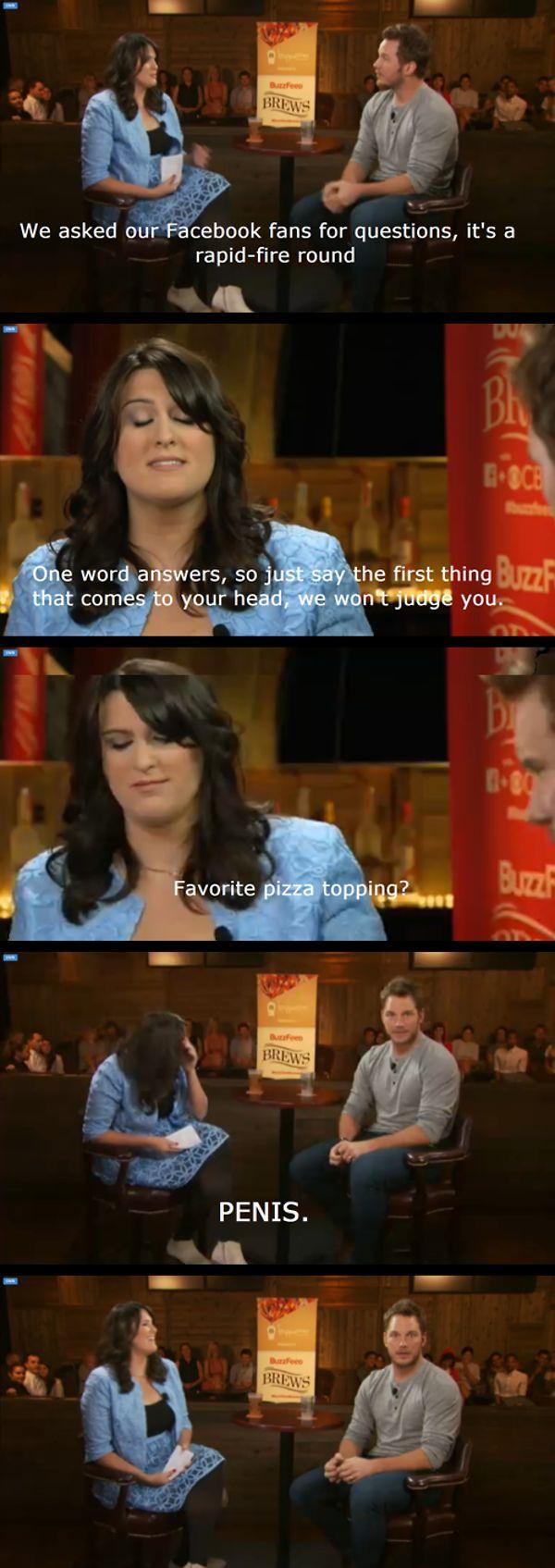 Chris Pratt Interview Facebook Question Favorite Pizza Topping