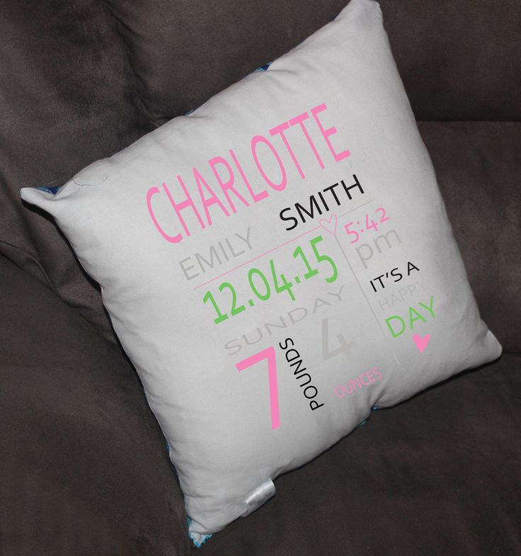 Baby Commemorative Pillow- by Bloo Moose Design.  Have you or someone you know just had a new baby?  This personalised pillow is the perfect gift to celebrate bubs arrival.
